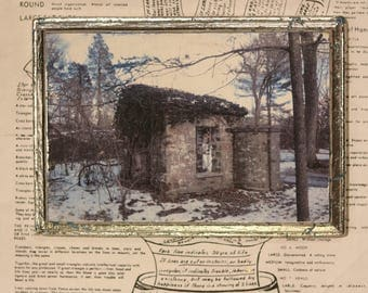 Gate House, Stone, Ivy, Abandoned, Unique, Affordable, Art, Small, 5 x 7, Wood Panel