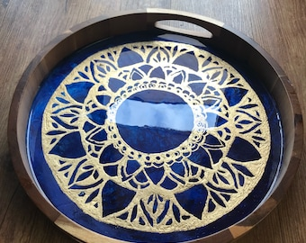Blue and Gold Mandala Resin and Wood Tray with Gold Leaf
