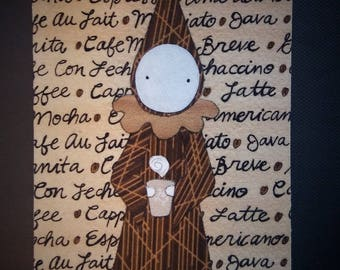 "Coffee Poppet - Fabric Art Original - ""Coffee""    A  Poppety Collaboration"