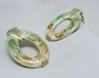 Swirled Enamel Earrings, Door knocker, Green, Peach, Gold, Pierced Earrings, Ovals, 1980s