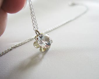 """Cubic Zirconia Solitaire, 14K White Gold Necklace, 16"""", Round, 1/2 carat, Sparkling, 1mm Thin Chain, Petite Design, Silver, Flower Setting"""
