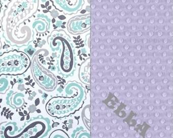 Personalized Baby Blanket / 42 x 55 Minky Blanket Girl, Paisley Blanket / Crib Blanket // Mint Lavender Baby Blanket / Baby Shower