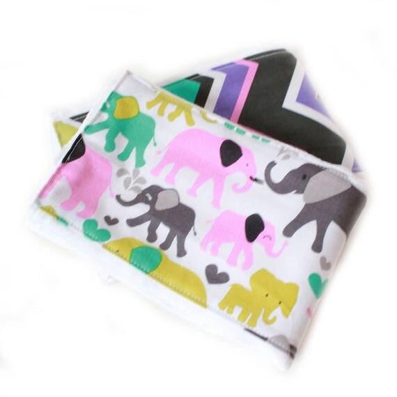 Elephant Girl Burp Cloths - Chevron Baby Burp Cloths - Purple Pink Aqua Green Orchid- set of 2 // Ready to Ship