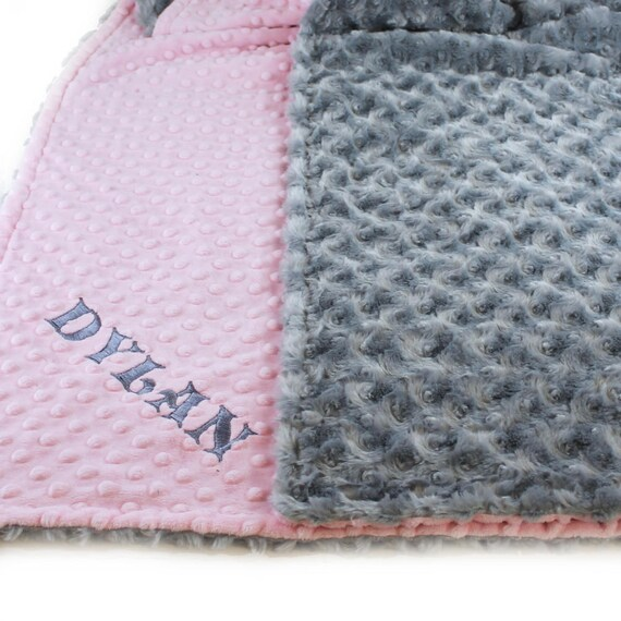 Pink Gray Toddler Blanket, Kids Minky Blanket Girl, Minky Throw Blanket, Personalized Blanket, Name Blanket, Gift For Her, Personalized Gift
