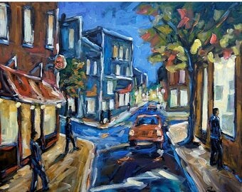 On Sale Urban Avenue Original Oil painting created by Prankearts