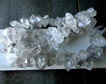 SALE Large Moss Herkimer Diamond Quartz- 10-16mm- 7 inch