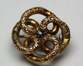 Antique Love Knot Brooch - Yellow Gold - Blue Stone