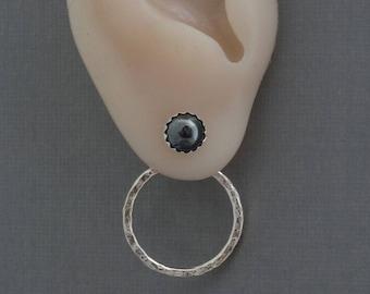 Ear jacket sterling silver front back earrings gray post studs double two side hoop ear jacket earrings ear wrap modern minimalist earrings