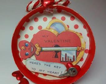 Vintage Shadowbox Valentine Ornament