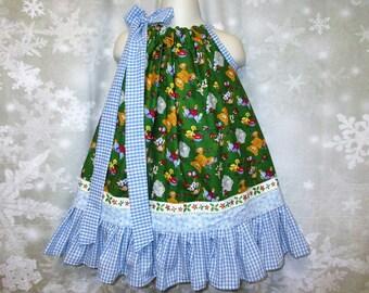 Girls Christmas Dress 2T/3T Christmas Toys Green Blue Pillowcase Dress, Pillow Case Dress, Sundress, Boutique Dress