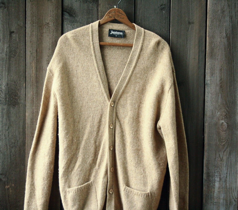 Wool Cardigan Sweater Unisex Oversized Jantzen Beach L