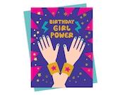 Girl Power - Birthday Card - Foil Stamped Card - Gold Foil Birthday Card - OC1551