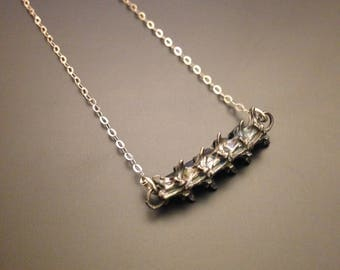 Serpentine sterling silver snake vertebrae necklace - single horizontal