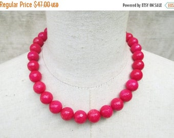 XMAS in JULY SALE Hot  Pink Beaded Necklace, Deep Rose Beads Choker