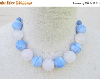 XMAS in JULY SALE Serenity Blue Rose Quartz Chunky Beaded Necklace, Pantone Colors 2016 Choker