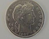 Vintage 1907 Barber Half Dollar, Silver Half Dollar, Collectable Coins, Vintage Coins, Silver Coins, USA Coins, FREE Shipping