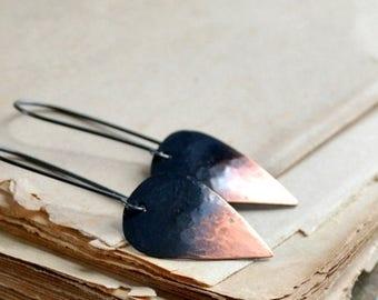ON SALE Copper earrings, sterling silver earrings, minimalist earrings, rustic earrings, hammered metal, leaf shape, drop earrings