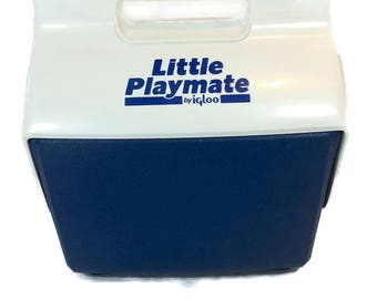 Vintage Little Playmate Cooler By IGLOO Blue & White Hard Sided Made in USA