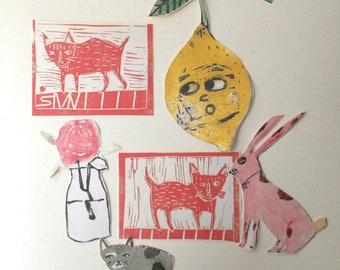 Pack of 6 funny moggshop stickers lemon cat rabbit rose