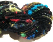 RESERVED for Mo Super Bulky Handspun yarn Andromeda 99 yards corespun art yarn black rainbow merino wool mohair locks silk noil