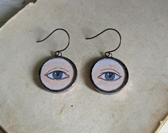 Eye Can See Clearly Vintage Paper Glass Earrings