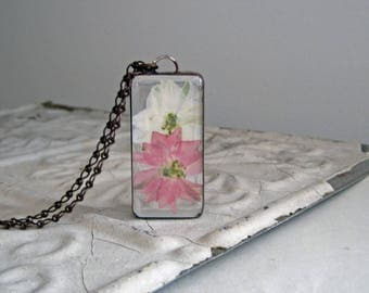 Pressed Flower Necklace, Pink and White Larkspur Pendant, Nature Jewelry