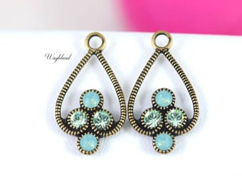 Chrysolite & Pacific Green Opal Antique Brass Filigree Rhinestone Drops Earring Dangles 23x13mm Jewelry Findings Charms Swarovski - 2