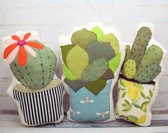 Cactus Cushion (Pillow) Trio applique pattern pdf instant download
