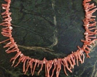 Vintage Mega Branch Coral Fringe Bib Necklace 1950