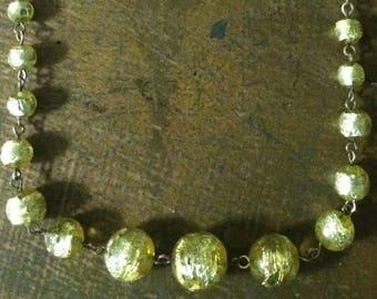 Vintage Italian Lemon Foil Murano art Glass Bead Necklace