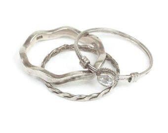 Three Stacking Sterling Silver Rings Lot Skinny  Rings Lot Vintage