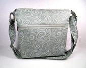 Light Gray Swirls Handmade Fabric Cross Body Purse Large Zippered Pocket