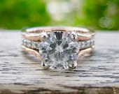 Forever One Moissanite Engagement Ring in Platinum with Natural Diamonds and 14K Rose Gold Wedding Band Wrap Around - RESERVED for Tiffany