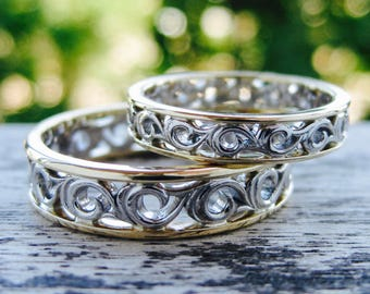 Pair of Fine Scroll Wedding Rings in Two Tone Palladium and 14K Yellow Gold Sizes 6 & 12