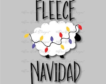 Fleece Navidad SVG File PDF / dxf / jpg / png / Sheep Merry Christmas SVG File for Cameo, Cricut & other electronic cutters
