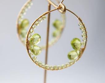 Peridot Hoop Earrings, Green Gemstone Earrings, August Birthstone Jewelry