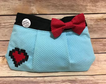 8-Bit Heart Embroidered Clutch