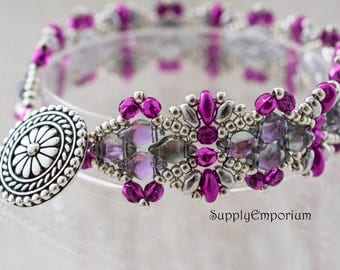 Party Pink Bead Woven Bracelet, Pink and Silver Beaded Bracelet