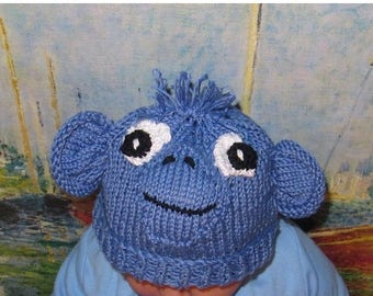 50% OFF SALE Instant Digital File pdf download baby blue monkey animal hat pdf knitting pattern