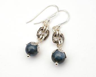 "Blue kyanite earrings, semiprecious stone beads, silver French hooks, dangle, 1 5/8"" long"
