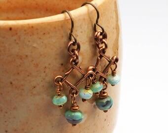 "Light blue chandelier earrings, glass beads, French hooks, long copper dangle, 1 5/8"" long"