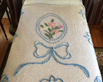 Christmas Sale 1950s Vintage Chenille Bedspread FLORAL & BOW Twin Bed Size White, Pink, Blue