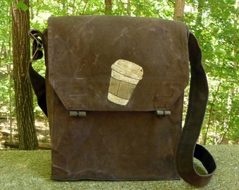 Espresso Vintage Czech Canvas Military Satchel ... Canvas Messenger Bag...Hand Painted Coffee Cup