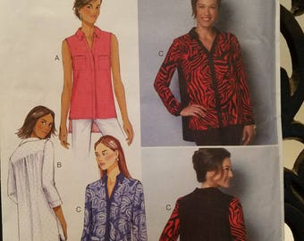 Butterick Pattern 6288 blouse, sleeveless, long sleeve 3/4 sleeve,  Size 8-16 new uncut 2015