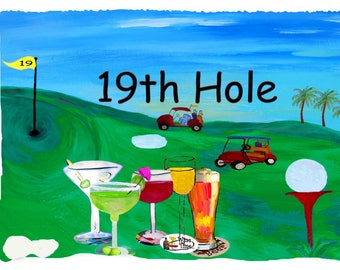 Golf 19th hole picnic or throw blanket from my original art.