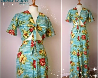 Swell Dame 1940s trousers and tie top with Hawaiian tropical print fabric beach pajama set  MANY FABRIC choices!!!