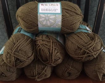 lot of 8 Bernat Waverly soft worsted category 4 yarn BARK dark brown 3.5 ounces 197 yards acrylic skein knitting crochet discontinued new