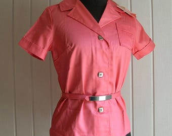 Vintage Coral Belted Button Down Blouse by Beeline Fashions - Polished Apple