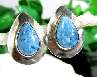 Vintage NAVAJO TEAR SHAPED Sterling Earrings Mottled Blue Stone