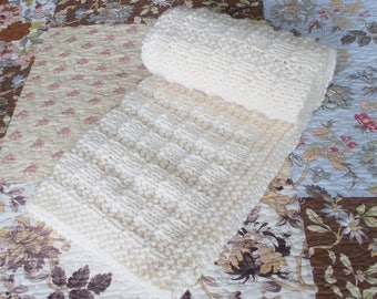 Hand Knit Baby Blanket, Ivory Cream Chunky Knit Afghan, Warm Winter Throw, Toddler Kids Thick Textured Lap Blanket, Gender Neutral Baby Gift